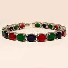 Emerald Ruby Sapphire Tennis Bracelet 925 Sterling Silver Women Wedding Jewelry