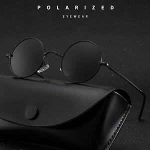 Sonnenbrille Rund Herren Damen Hippie Brille Schwarz Retro Unisex Verspiegelt