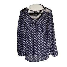 Lucky Brand Top Small Sheer Women Boho Casual Blue White 3/4 Sleeve
