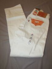 mens levi's 501 button fly jeans 34x34 nwt $69.50 shrink to fit white