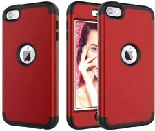 For iPod Touch 5th 6th 7th Gen - Hard Hybrid Armor Nonslip Case Cover Red Black