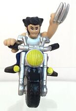 Marvel Super Hero Squad WOLVERINE & Matching Blue Black Flames Motorcycle Cycle
