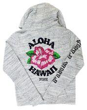 """Victoria's Secret PINK """"Aloha Hawaii"""" Sequin Hibiscus Flower Marl Gray Hoodie S"""