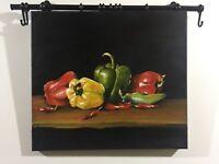 Peperoni Olio su tela 40x45 cm realistico certificato di autenticita