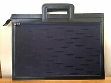 Vintage 80s New Navy Blue Bank of America Woven Fabric Vinyl Portfolio Briefcase