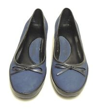 Connie Navy Blue Suede/Nubuck Black Leather Trim Kitten Heels Pumps w/ Bow Sz 7M