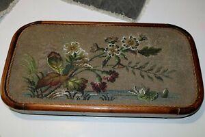 Antique Victorian Beadwork Needlepoint Tea Tray With Glass Beads & Bun Feet