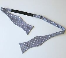 Navy Plaid with Multicolor Polka Dot Bow Tie 100% Silk