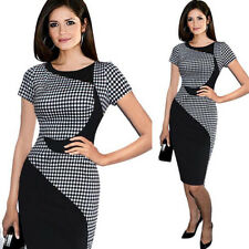 New Womens Short Sleeve Bodycon Formal Cocktail Evening Midi Pencil Office Dress