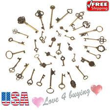 36pcs/set Antique Vintage Key Old Look Bronze Skeleton Fancy Heart Keys US Stock