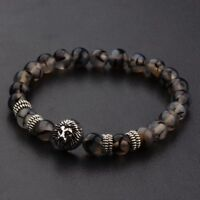 8MM Natural Stone Silver Shim Lion Head Energy Women Men Charm Bracelets Jewelry