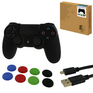 ZedLabz protect & play kit for PS4 silicone cover thumb grips & 3m cable - black