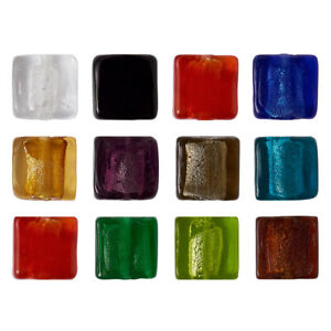 50 Pcs Square Handmade Silver Foil Lampwork Glass Beads For DIY Jewelry Making