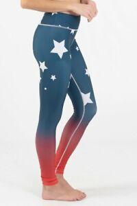 Women's Patriotic Red White & Blue Stars Leggings SIZE MEDIUM NEW  Great Price!