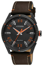 Citizen Eco Drive CTO Men's BM6995-19E Orange Accents Black Dial 42mm Watch