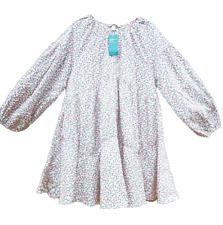 H&M Green Multi Floral Ditsy Balloon Sleeve Mini Tunic Dress size L 16 18 20 22