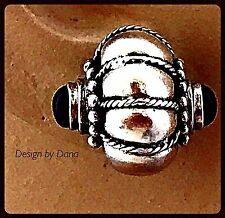 Caviar-Sterling-925-Bali-Sterling Silver-Onyx-Scallop-Post-Substantial-Earring