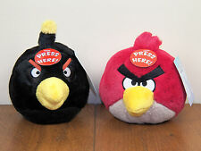 "Angry Birds 2-Lot Black Bomber & Red 5"" Plush Stuffed Animal Doll W/ Sound *NEW*"