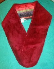 Dark Red Faux Fur Stole w Black,Red&Green Striped Lining for Adult or Teen FSC15