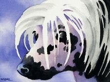 Chinese Crested Dog Watercolor Painting 8 x 10 Art Print by Artist Dj Rogers