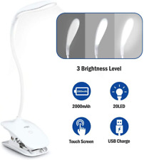 Clip on Light Reading Lights,20 LED USB Book Clamp Light with 3 Brightness Dimme