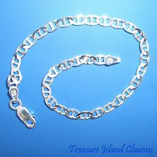 """7"""" Marina Anchor .925 Solid Sterling Silver Charm Bracelet 3mm MADE IN ITALY"""