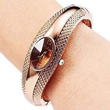 Fashion Golden Oval Quartz Watch Lady Cuff Bangle Bracelet Wristwatch Elegant