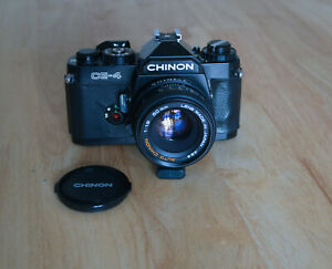 CHINON CAMERA OUTFIT CE-4, POWER WINDER, THREE LENSES, TWO CASES