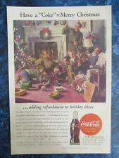 """Vintage Coca Cola 1944 Christmas  Ad Store Sign """"WWII SOLDIERS BACK HOME W KIDS"""""""
