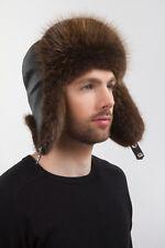 Natural Beaver Fur Ushanka Hat Leather Top Trapper Hat For a Men's