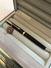 VINTAGE PARKER PREMIER BLACK NOIR GOLD TRIM BALLPOINT PEN-BOXED-UK-SUPERB