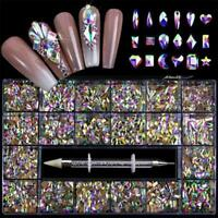 1 Box 3D Nail Rhinestones Mixed Nail Art Bling Crystal Decor+ Drill 1* Pen Z3Q2