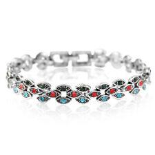 Vintage Look Silver Plated Turkish Multi-colour Crystal Bracelet
