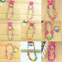 Wholesale lots 5 Cute children kid fun wood bead necklace bracelet jewelry Sets