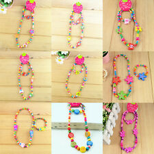 Wholesale lots 5 Cute children kid fun wood bead necklace bracelet jewelry Sets