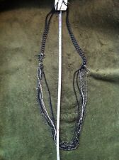 Ladies Earring And Necklace Set Black & Silver Chain With Silver Crystals Multi