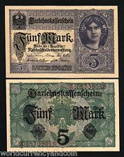 GERMANY 5 MARKS P-56 1917 x 100 Pcs Lot BUNDLE UNC BANKNOTE GIRL LOAN MONEY BILL