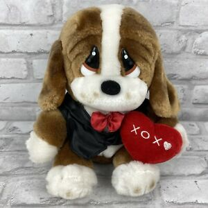 Sad Sam Baby George Valentino Plush Basset Hound Puppy Dog  Tuxedo Heart