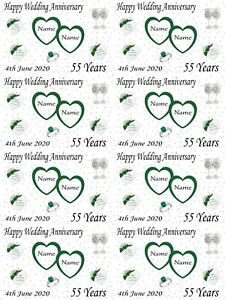 Personalised Emerald 55th Wedding Anniversary Gift Wrapping Paper ADD NAMES