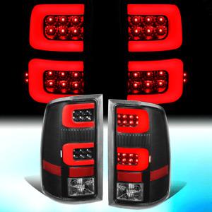 FOR 2007-2014 GMC SIERRA PAIR BLACK HOUSING RED 3D LED BAR TAIL LIGHT BRAKE LAMP