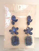Blue Rhinestone Pierced Earrings Bridal Pageant Drag Queen Set