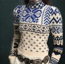 New $498 Polo Ralph Lauren Turtleneck Nordic Fair Isle Sweater Cream L