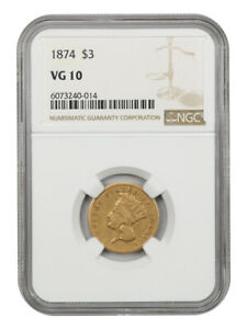 1874 $3 NGC VG-10 - 3 Princess Gold Coin
