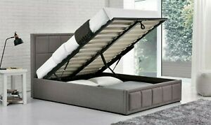 OTTOMAN STORAGE GAS LIFT UP 4FT SMALL DOUBLE GREY FABRIC BED FRAME