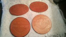 4 PIECE LOT OF  HARLEY DAVIDSON LEATHER BELT BUCKLE INSERTS FOR CRAFT