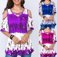 Women Summer Hollow V-Neck Short Sleeve Floral Print T-Shirt Casual Loose Tops