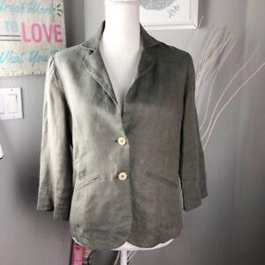 Comptoir Des Cotonniers Womens Shirt Jacket Green Buttons Pockets Short Linen 12