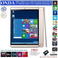 "NEW ONDA V919 AIR CH 4GB RAM 64GB INTEL DUAL OS WINDOWS 10 9.7"" 4K TABLET PC"