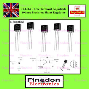 5 x TL431A precision programmable voltage reference 1% TO-92 UK Seller