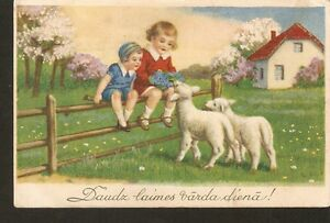 Latvia ERNST Plates NAMING Day postcard Children sheep lambs illustration 1930s